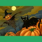 Black cat and pumpkin scarecrow PNG Free Download