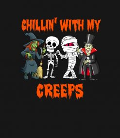 Chillin With My Creeps Vampire Halloween Skeleton PNG Free Download