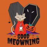 Funny Halloween Cat Drinking Coffee Coffin  Good PNG Free Download