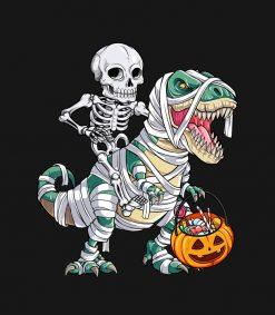 Skeleton Riding Mummy Dinosaur T rex Halloween Kid PNG Free Download